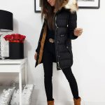 Originálna čierna dámska bunda s kapucňou (ty1057)