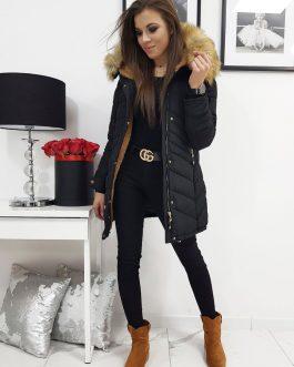 Čierna trendová dámska bunda na zimu (ty1063)