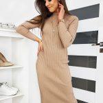 Pletené rolákové dámske šaty STELLA v béžovej farbe (ey1087)