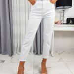 Biele dámske džínsy UY0222