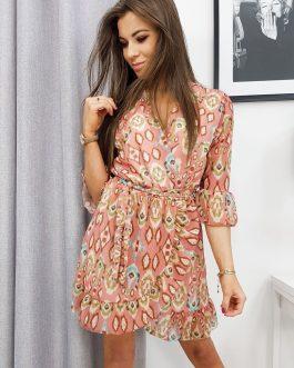 Letné broskyňovo-ružové šaty BUENO EY1091