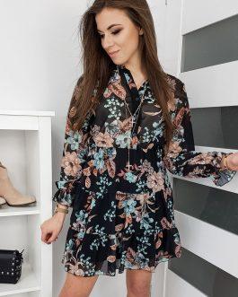 Dámske čierne kvetované šaty DELICE (ey1095)