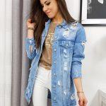 Dámska dlhá džínsová bunda LUIZA TY1080