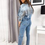 Modrá džínsová bunda SILVERA so strapcami TY1099