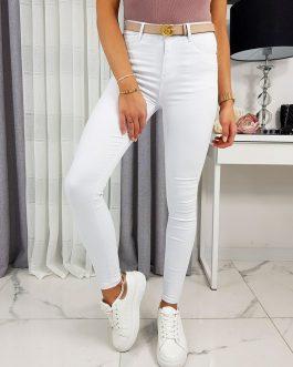 Biele džínsové nohavice WHITEW pre dámy UY0285