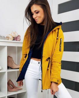 Obojstranná žltá štýlová bunda ELBIA s kapucňou TY1141