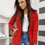 Krásna bunda AMERICANO červenej farby TY1150