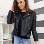 Koženková dámska čierna bunda ALDES TY1190