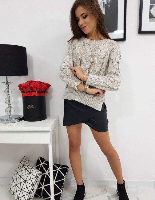 Béžový oversize dámsky sveter LISS (my0599)