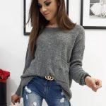 Dámsky oversize sveter AMBER tmavo-sivej farby (my0666)