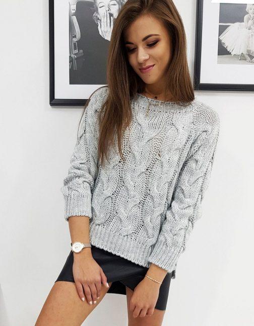Dámsky pohodlný sveter LISS svetlo-sivej farby (my0601)