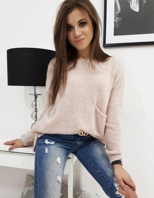 Dámsky ružový sveter AMBER v trendy prevedení (my0665)