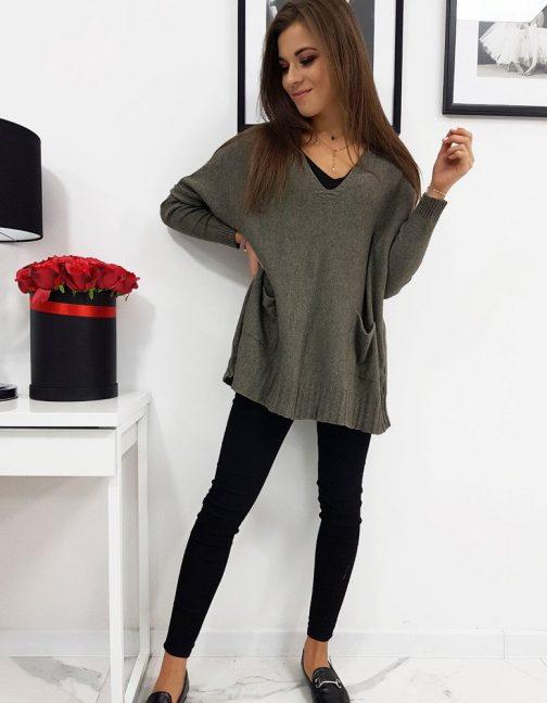 Dámsky trendový sveter IVETTE vo farbe khaki (my0268)