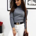 Jednoduchý svetlo-sivý rolákový sveter SWEET (my0714)