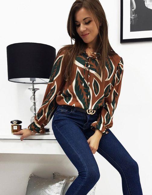 Krásna dámska camelová košeľa so vzorom LEAVES (ry0504)