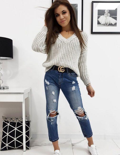 Módny svetlo-béžový sveter OLIERA (my0633)