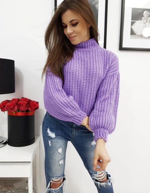 Moderný dámsky fialový sveter ELIA (my0716)