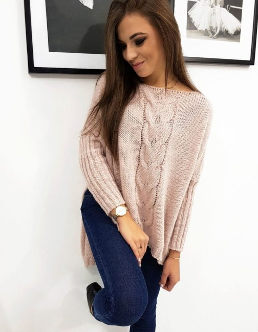 Moderný dámsky ružový sveter IVI (my0609)