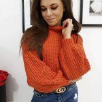 Oranžový dámsky trendy sveter ELIA (my0718)