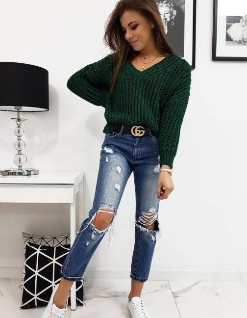 Originálny dámsky sveter OLIERA zelenej farby (my0635)