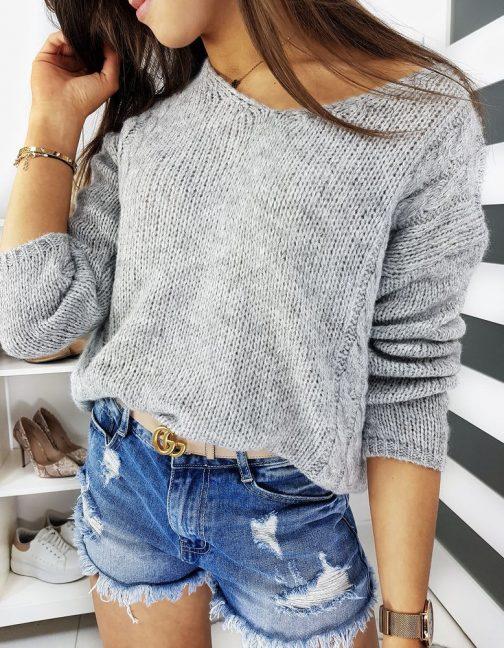 Pekný svetlo-sivý dámsky sveter SIMONE (my0659)