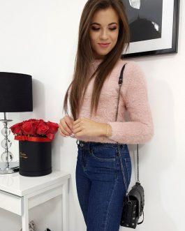Ružový dámsky sveter VIES v jednoduchom prevedení (my0577)