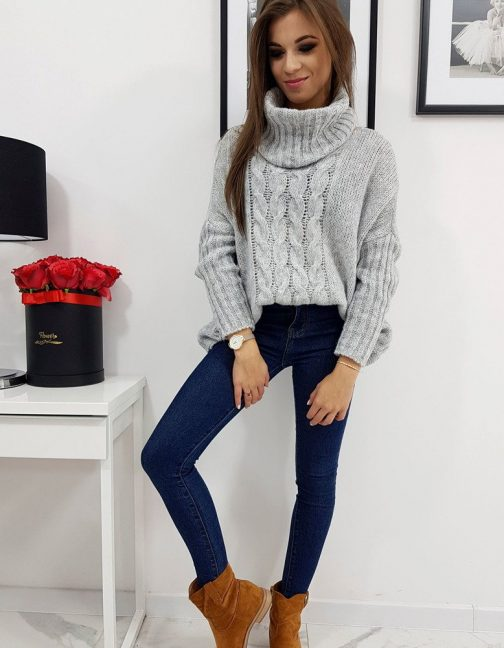 Svetlo-sivý štýlový sveter LOGAN pre dámy (my0604)