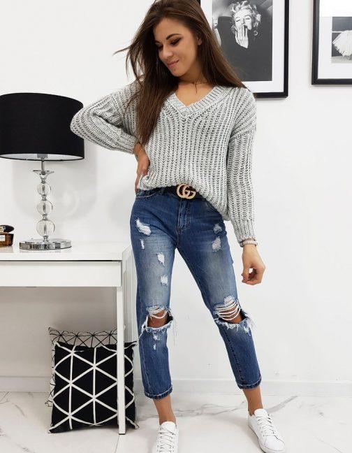 Svetlo-sivý trendový dámsky sveter OLIERA (my0634)