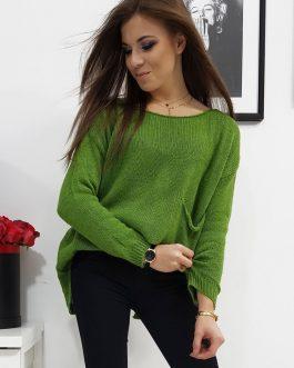 Svetlo-zelený dámsky sveter AMBER s rázporkom (my0698)