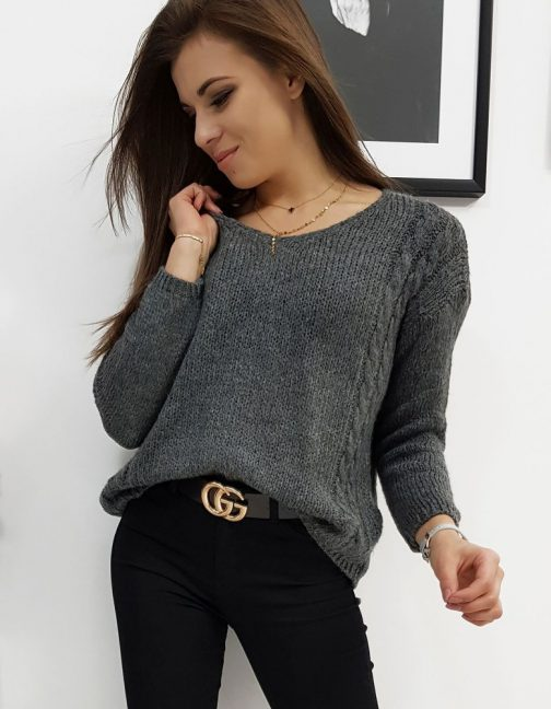 Tmavo-sivý štýlový sveter SIMONE pre dámy (my0660)
