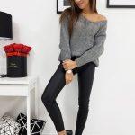 Tmavo-sivý dámsky trendy sveter STYLE (my0597)