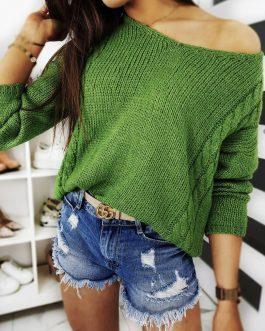Trendový svetlo-zelený dámsky sveter SIMONE (my0706)